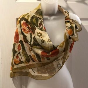 VTG Square Scarf Fall Colors Floral Pattern